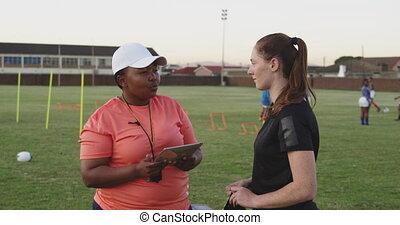 adulte, rugby, entraîneur, femme, formation, joueur, jeune