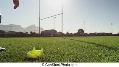 adulte, rugby, femme, joueur, pas, jeune