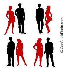 adultes, couple, jeune, silhouettes, rouge noir