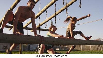 adultes, formation, extérieur, gymnase, bootcamp, jeune