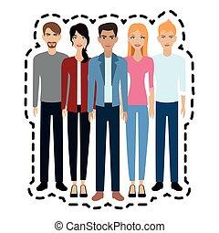 adultes, image, icône, jeunes