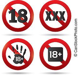adultes seulement, contenu, button., xxx, vecteur, sticker.