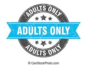 adultes, timbre, signe, étiquette, rond, ribbon., seulement