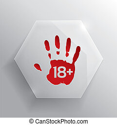adulti, età, button., vetro, soltanto, limite, rosso