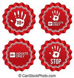 adulti, età, labels., contenuto, soltanto, limite, stickers.