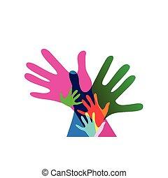 adulti, no, insieme, trasparenze, mani, bambini