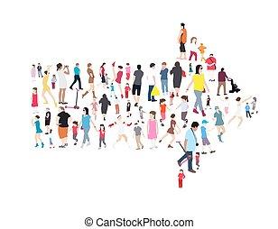 adulti, set, persone., illustrazione, vettore, bambini, seniors.