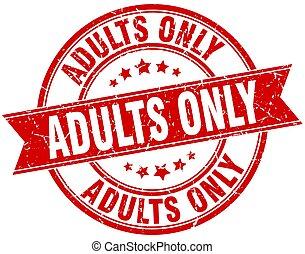 adulti soltanto, rotondo, grunge, nastro, francobollo