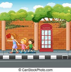 adulto, ajudando, crianças, cruzar, a, rua