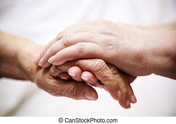 adulto, ajudando, sênior, em, hospitalar