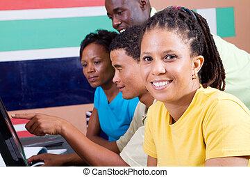 adulto, americano africano, estudantes