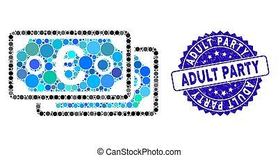 adulto, colagem, euro, ícone, textured, notas, partido, selo