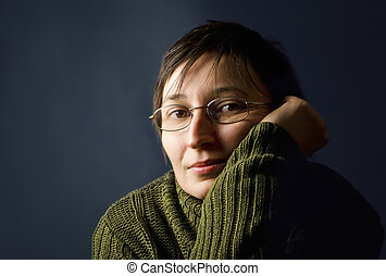 adulto jovem, mulher, thinking.