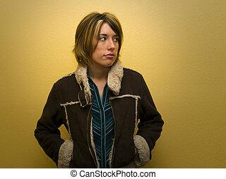 adulto jovem, retrato mulher