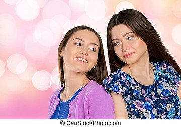 adulto joven, carrera mezclada, sisters/, amigos, retrato