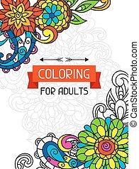 adulto, libro colorante, disegno, per, cover.,...