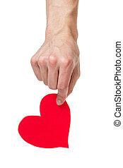 adulto, macho, passe segurar, coração papel