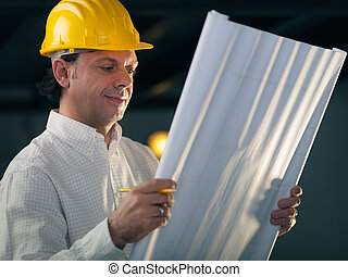 adulto, maschio, ingegnere, presa a terra, costruzione, cianografie