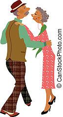 adulto mayor, juntos, bailando