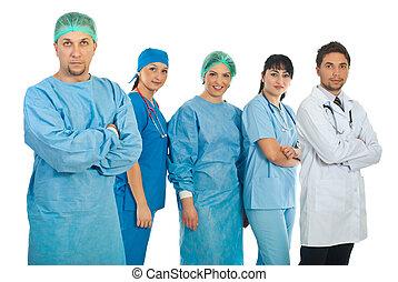 adulto mid, cirurgião, e, seu, equipe
