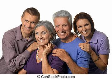 adulto, padres, niños, feliz