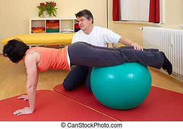 adulto, practicar, posturas, en, bola del ejercicio