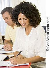 adulto, studenti, studiare, tavola, (selective, focus)