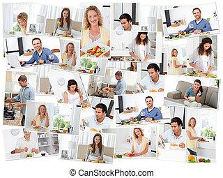 adultos, cozinha, montagem, jovem