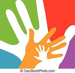 adultos, crianças, junto, mãos