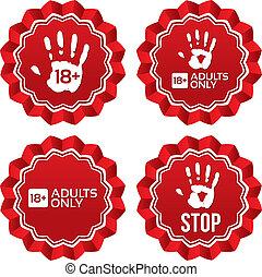 adultos, edad, labels., contenido, solamente, límite, stickers.