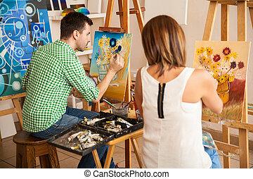 adultos jóvenes, pintura, en, un, arte, escuela