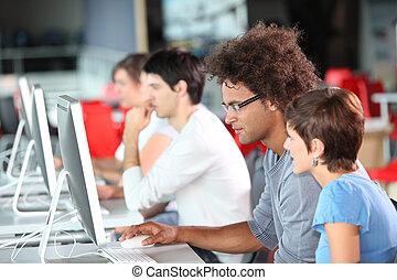 adultos jovens, em, treinamento, curso
