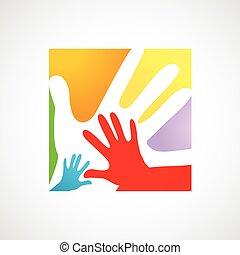adultos, niños, juntos, manos
