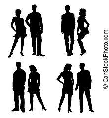adultos, par, jovem, silhuetas, pretas, branca