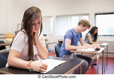 adultos, sério, jovem, estudar