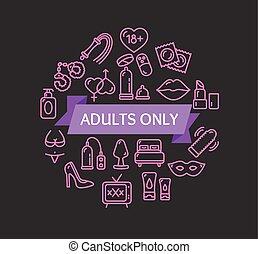 adultos só, concept., vetorial