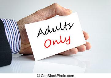 adultos só, texto, conceito