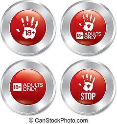 adultos solamente, botón, set., vector, edad, límite, stickers.