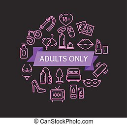 adultos solamente, concept., vector