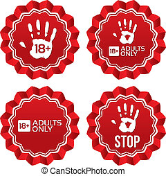 adultos solamente, contenido, labels., edad, límite, stickers.