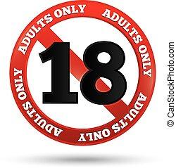 adultos solamente, contenido, signo., vector, edad, límite, icono