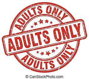adultos solamente, grunge rojo, estampilla