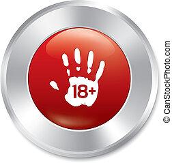 adultos solamente, mano, button., edad, limit., isolated.