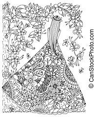 adults., 着色, ストレス, dress., antis, いたずら書き, 禅, イラスト, 花, 木。, ベクトル, white., 花, 黒人の少女, もつれ, 本
