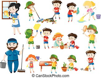 Adults and kids in various cleaning positions