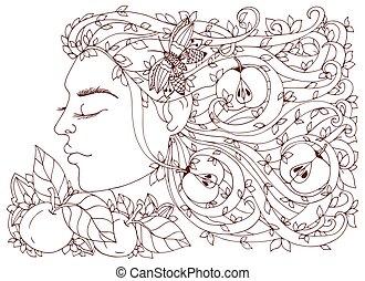 adults., brauner, frau, färbung, sie, drawing., gekritzel, vektor, zen, beanspruchen, abbildung, apples., m�dchen, anti, haar, blumen, gewirr, buch, white.