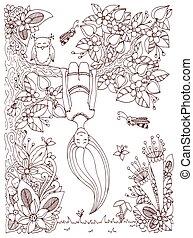 adults., brun, tension, coloration, arbre, frame., griffonnage, vecteur, zen, pend, livre, anti, illustration, bas., floral, dessus, girl, enchevêtrement, white.