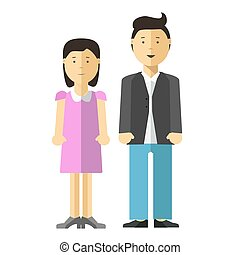Adults Couple Full Length Portrait Isolated - Adults couple...