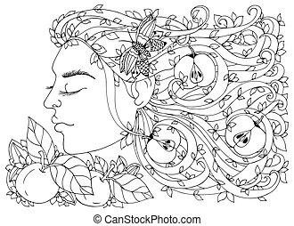 adults., frau, färbung, sie, drawing., gekritzel, vektor, zen, beanspruchen, abbildung, apples., m�dchen, anti, haar, schwarz, blumen, gewirr, buch, white.