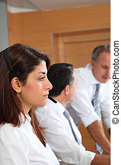 Adults in telemarketing training course